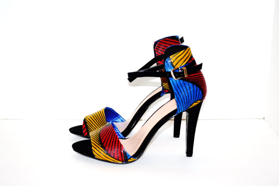 """Mariage - Red Womens Shoes, African Print Sandals, Luxury Red, Metallic Yellow And Blue Sandals, African Ankara Fabric 4"""" Sandals,  Blue Wedding Shoes"""