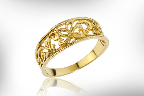 Wedding - Vintage Jewellry Ring Lace Ring 14k Gold Ring, Wedding Ring, Wedding Band, Yellow gold Ring, Handmade Jewelry, Art Nouveau, FREE SHIPPING