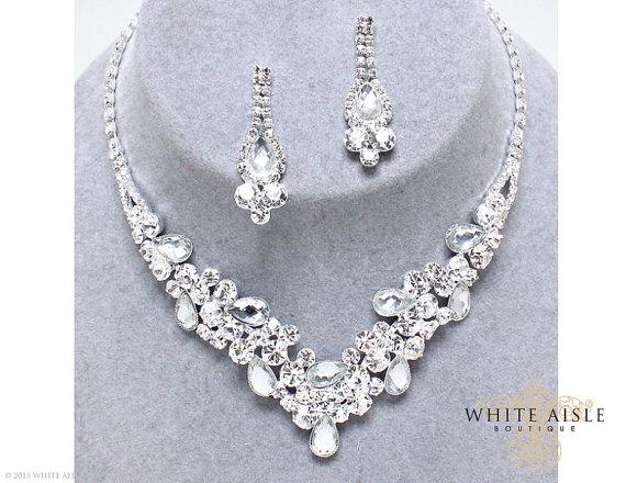 Wedding - Rhinestone Necklace Set, Bridal Statement Necklace, Wedding Jewelry, Vintage Inspired Necklace, Bridesmaids Jewelry