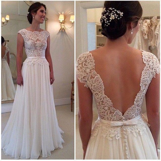 A-line Lace Bodice Cap Sleeve Beach Wedding Dresses Ivory Chiffon ...