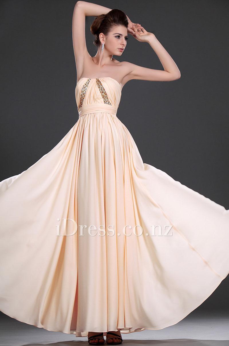 Свадьба - A-line Long Peach Strapless Sweetheart Beaded Chiffon Prom Dress