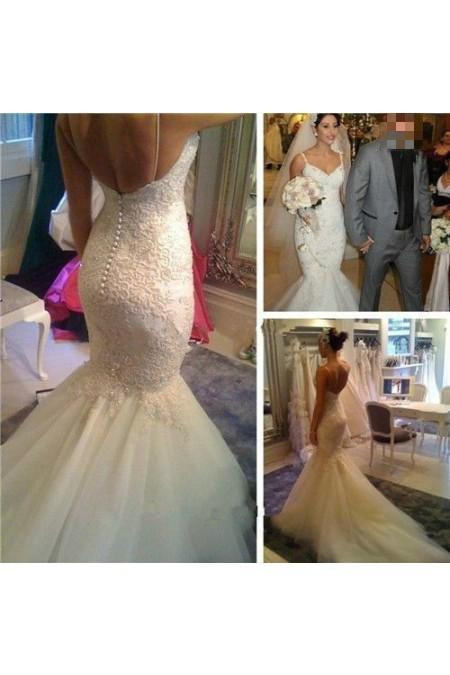 Hochzeit - Mermaid/Trumpet Spaghetti Straps Ivory Wedding Dresses