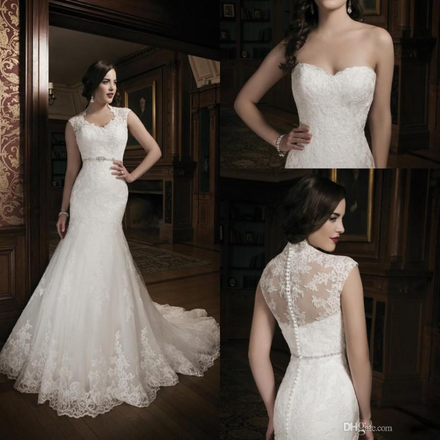 2015 new collection mermaid lace ivory wedding dress for Lace back mermaid wedding dress