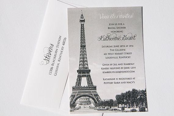 Vintage Ooh La Paris Eiffel Tower Shower Or Party Invitation
