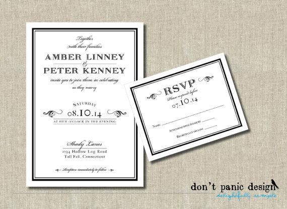 Mariage - Printable Wedding Invitation, Classic, Formal, Elegant Black and White -  RSVP - Custom Colors