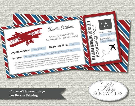 زفاف - Vintage Airplane Boarding Pass Invitations