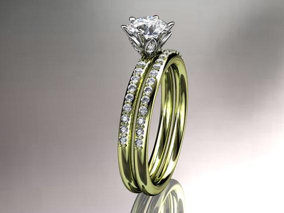 Свадьба - 14kt yellow gold diamond unique engagement ring,wedding ring ADER145S
