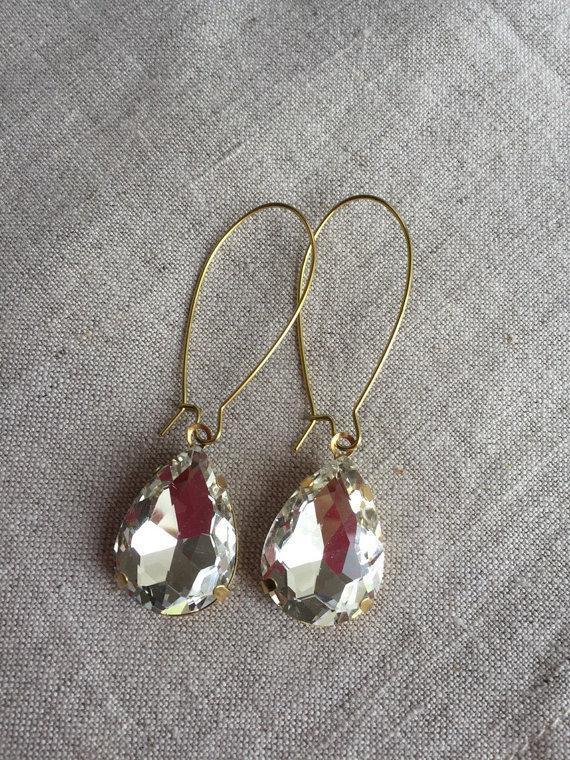 Свадьба - Vintage Crystal Rhinestone Earrings, Bridal Jewelry, Prom Jewelry, Statement Earrings