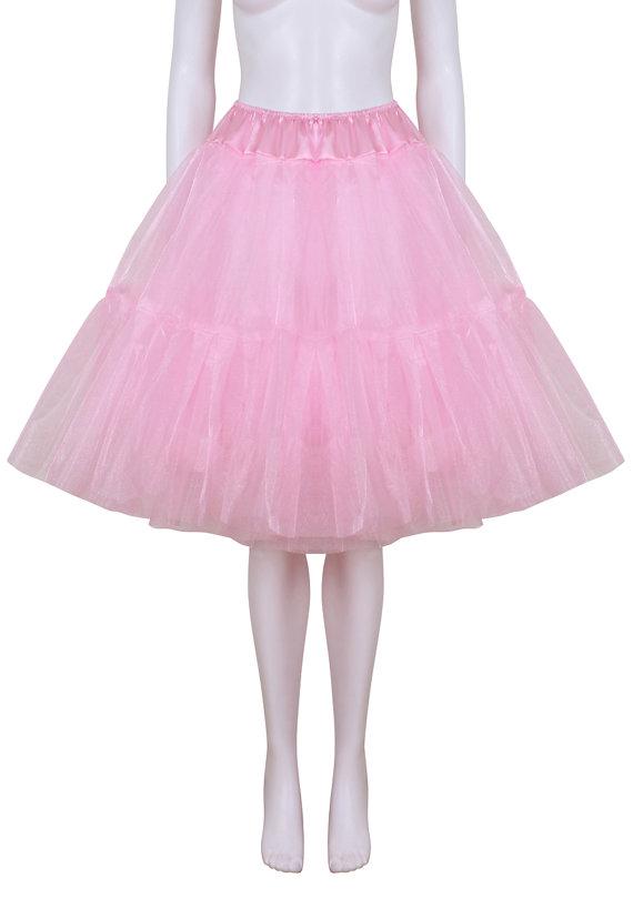 Mariage - Gorgeous Pink 27 inch 2 tier 2 layer Satin & Organza petticoat. Bridal Retro Vintage Rockabilly 50's style