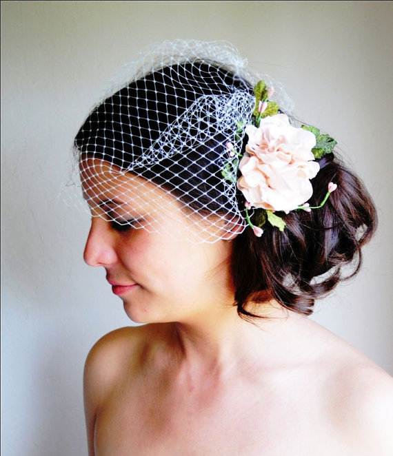 Hochzeit - Bridal Head Piece & Veil Set, Wedding Head Piece, Pink Head Piece, Pink Flower Hair Clip, Flower Clip, Ivory Head Piece, White Head Piece