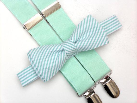 Mariage - Mint bow tie and suspenders, mint wedding, mint seersucker bow tie, groomsmen bow tie, mint suspenders, ring bearer outfit