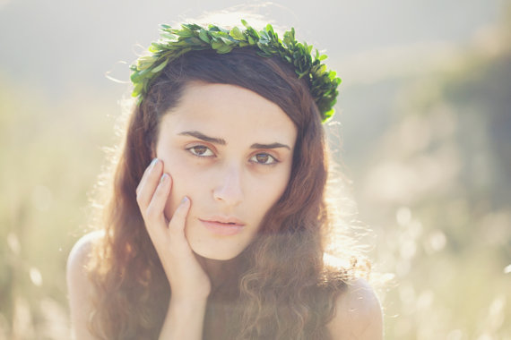 Wedding - Grecian goddess head piece, Boho bridal flower crown, Natural leaf hair wreath, garden wedding accessory - ATHENA