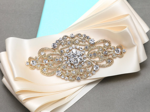 Свадьба - Gold/Silver Sash, Vintage Style Rhombus Sash, Rhinestone Crystals Wedding Sash, Bridal Dress Belt, Satin Adornment Sash  BRH00447