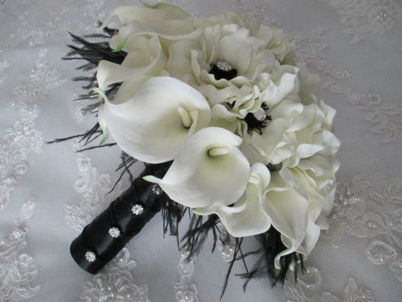 Mariage - Package Realtouch White Calla Lilies  and  Silk Anemones with an Inky Black Centers Bridal and Bridesmaids Bouquet Set