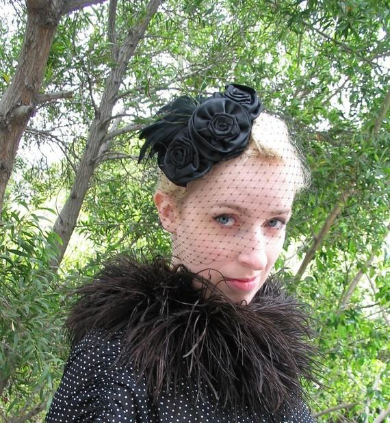 Wedding - Black Feather Hat, Black Birdcage Veil, Feather Fascinator, Victorian, Mourning Veil, Halloween Fashion, Roses, Batcakes Couture