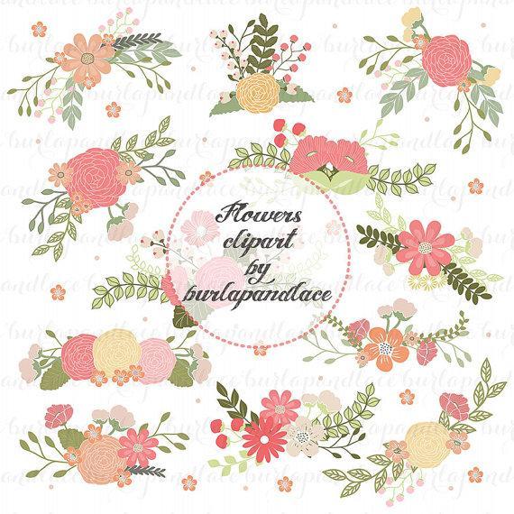 Свадьба - Wedding Floral Clip Art, Hand Illustrated Digital Flowers , Flower and Laurel Clip Art, PNG Flower Clip Art,  Wreath flower