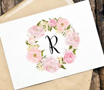 Printable DIY Monogram Card Office Stationery Thank You For Weddings Engagement Party Bridal Shower