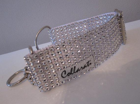 """زفاف - Diamond Bling.  1 1/2"""" White/ Silver Faux Rhinestones with Quick Release or Martingale Style Dog Collar"""