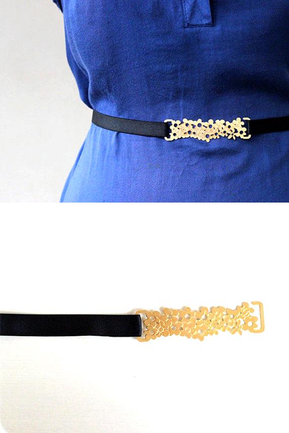 Свадьба - Gold flower belt- bridesmaids belt- bridal sash- wedding accessories- bridesmaids gift