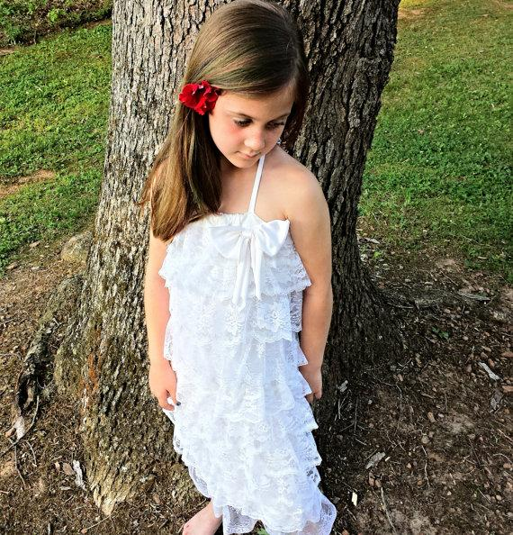 Wedding - Flower Girls Dress,  White Lace Dress, Junior Bridesmaid dress,  Wedding Party, Handmade Ruffled Lace Dress by MYSWEETCHICKAPEA