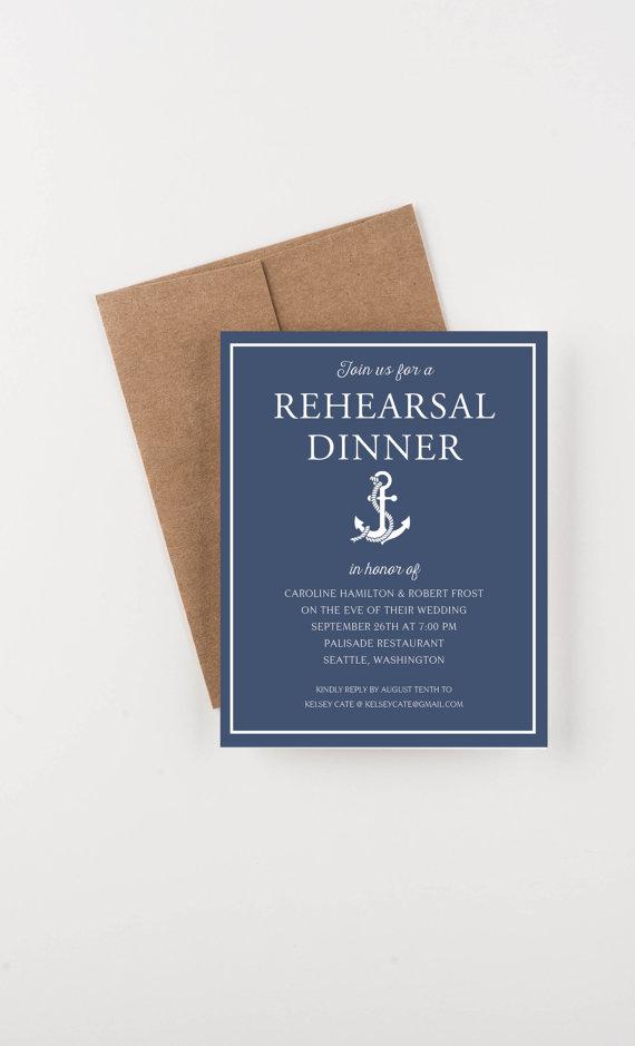 Nautical Rehearsal Dinner Invitation, Bridal Shower Or Engagement ...