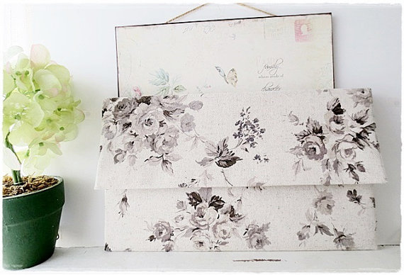 Свадьба - Large envelope clutch bridesmaids clutch vintage black gray rose wedding clutch bridal clutch evening purse linen clutch