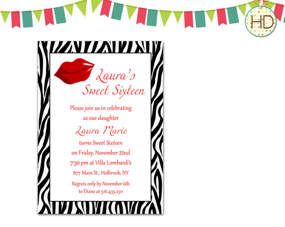 Mariage - Animal Print Invitation, Lips Invitation, Sweet Sixteen Invitation, Zebra Print Invitation, Cheetah Print Invitation