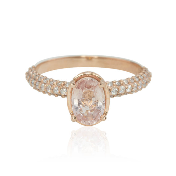 Hochzeit - 1 carat Oval Peach Sapphire Engagement Ring in Filigree Basket Setting with Heart Shaped Lace and Diamond Micropave Shank - LS4301