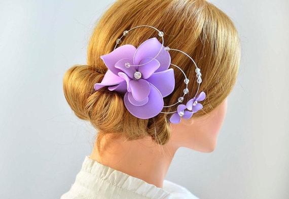 Swarovski bridal headpiece Lilac fascinator Fascinator headband Simple  fascinator Flower headpiece Wedding hair comb c6d63d4cb08