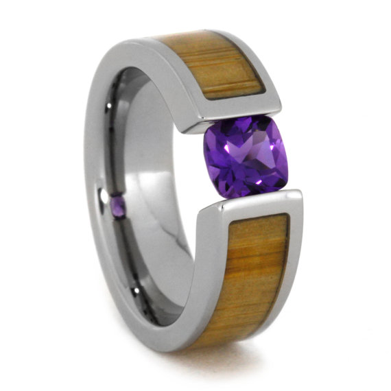 Mariage - Tension Set Ring with Sensational Purple Amethyst and Bamboo, Engagement Style Titanium Tension Ring