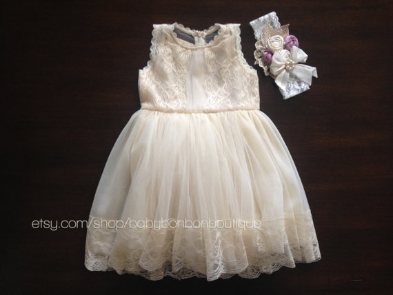 Mariage - french summer dress and rosette headband set, creme brulee baby girl dress, baby girl dress, baptism dress, christening, flower girl dress