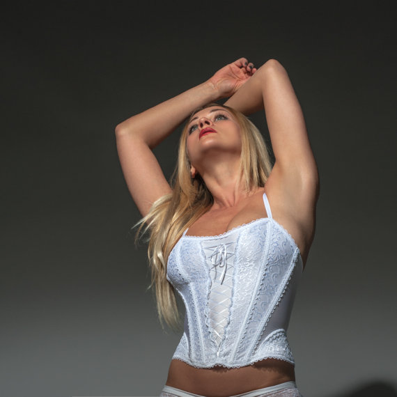 Wedding - New In: White Bridal Lingerie Corset With Zipper by Fearless and Fun Lingerie including Plus Sizes