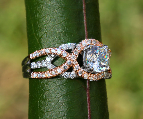 Wedding - TWIST OF FATE - 14k White and yellow or rose gold - Diamond Engagement Ring - Halo - Unique - Swirl - Pave - Bp024