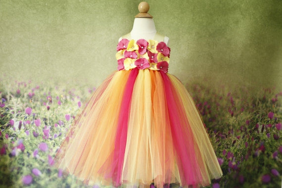 Yellow- Pink And Orange Flower Girl Dress- Orange Flower Girl ...