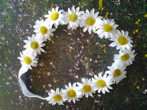 Wedding - Stretch Daisy Headband, Girls/Baby, Photo Prop, Newborn, Flower Girl, Wedding, Renaissance, White Daisy Stretch Headband, Toddler