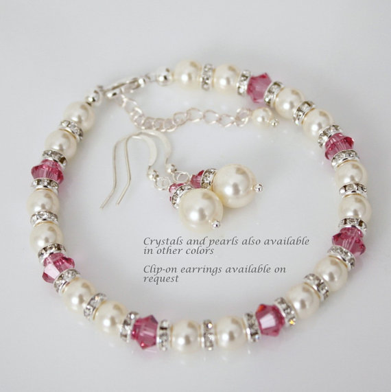 Wedding - Swarovski Ivory Cream Pearl and Pink (Rose) Crystal Bracelet and Earring Set, Bridesmaid Bracelet and Earring Set, Bridal Jewelry