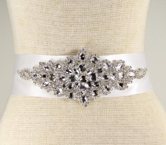 Свадьба - White Crystal Bridal Sash - Wedding Dress Sash Belt - White Rhinestone Crystal Wedding Sash - White Rhinestone Crystal Bridal Sash