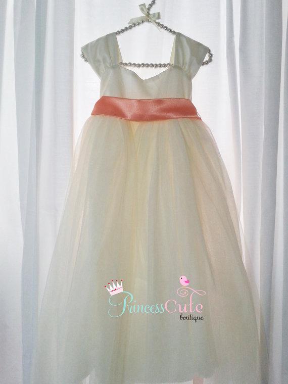 f52e587695b Peach Flower Girl Dress