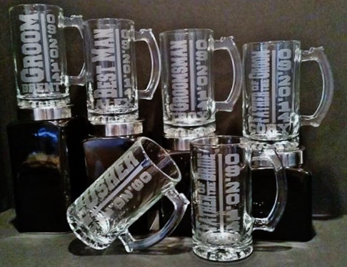 Свадьба - 6 Glasses - Groomsman Glass Set of 6 Personalized Groomsmen Mugs - Groomsmen Beer Mugs - Sandblasted Mug - 16 Ounce Beer Mug - Engraved Mugs
