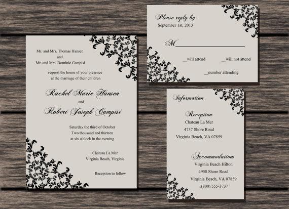 Hochzeit - Printable Lace Wedding Invitation Set / Digital Lace Wedding Invitation