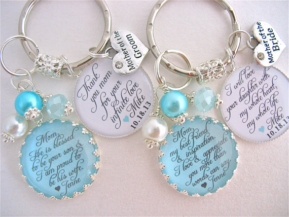 Mariage - MOTHER of the Bride Gift/Mother of Groom Gift BRIDAL Jewelry love for whole life Beach Wedding TURQUOISE Wedding  Mother in law keychain