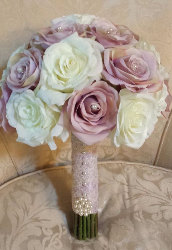 Hochzeit - Vintage looking silk lavendar and ivory rose wedding bouquet with pearl accents