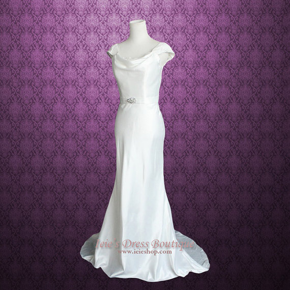Wedding - Cowl Neck Cap Sleeves Wedding Dress with Lace panel back