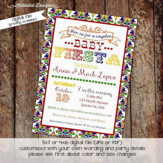 Hochzeit - fiesta baby shower invitation gender reveal coed couples mexican rehearsal dinner engagement party bash  (item 1424) shabby chic invitations