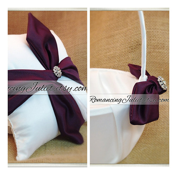 زفاف - Knottie Style Flower Girl Basket Ring Bearer Pillow Set with Silvertone Accent...You Choose The Colors..shown in eggplant/white