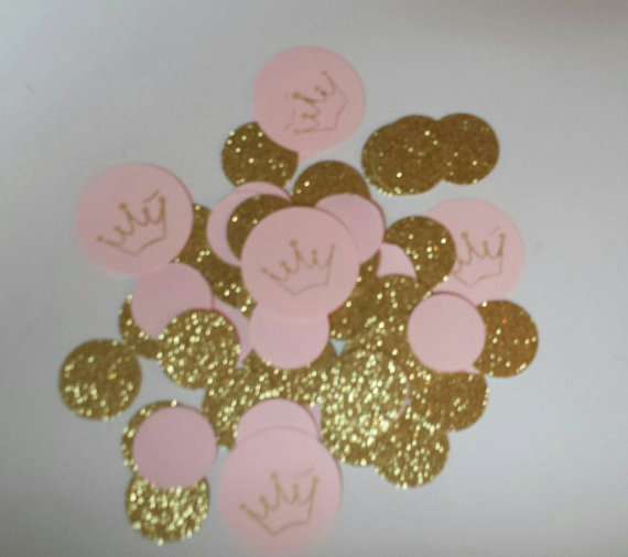 100 Pink Gold Glitter Confetti Wedding Birthday Party 1st Princess Tiara Invitation