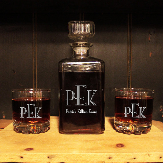 Best Man Cave Gifts : Monogrammed glass whiskey decanter set barware