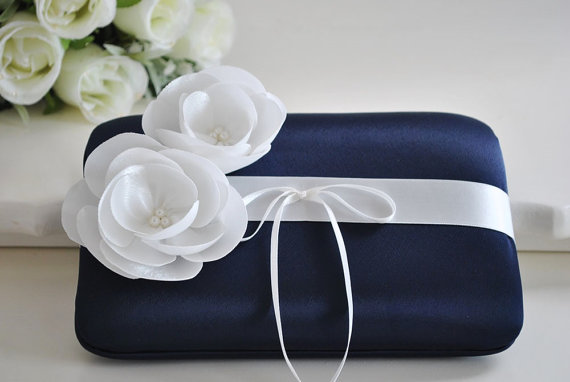Beautiful Wedding Ring Bearer Pillow You Choose The Colors Shown In Midnight Blue With Off White Satin Flowers