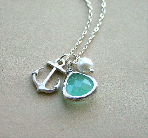 Wedding - Anchor Necklace, Aquamarine Necklace, Silver Anchor Necklace, Birthstone, Sterling Silver, Everyday Necklace,Gift, Beach Wedding Jewelry