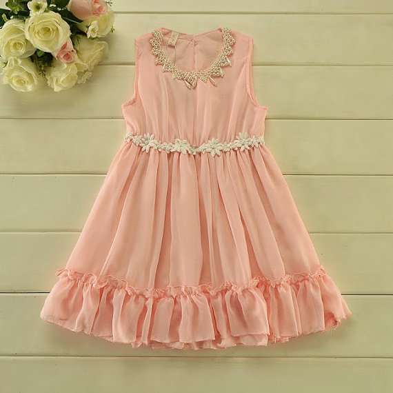 Blush Pink Chiffon Girl Dress - Flower Girl Wedding Dress, Wedding ...